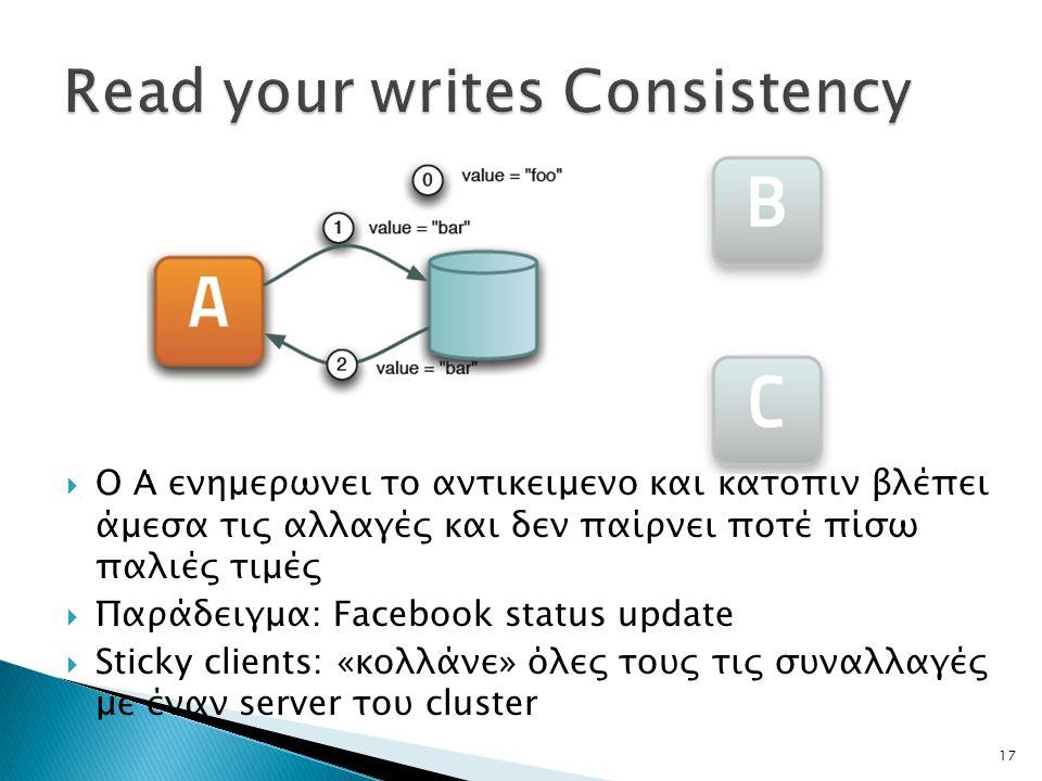 17  Ο Α ενημερώνει το αντικείμενο και κατόπιν βλέπει άμεσα τις αλλαγές και δεν παίρνει ποτέ πίσω παλιές τιμές  Παράδειγμα: Facebook status update  Sticky clients: «κολλάνε» όλες τους τις συναλλαγές με έναν server του cluster