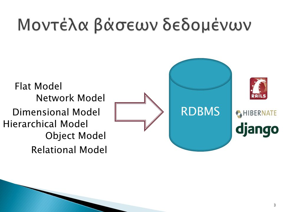 RDBMS Flat Model Hierarchical Model Network Model Relational Model Dimensional Model Object Model 3