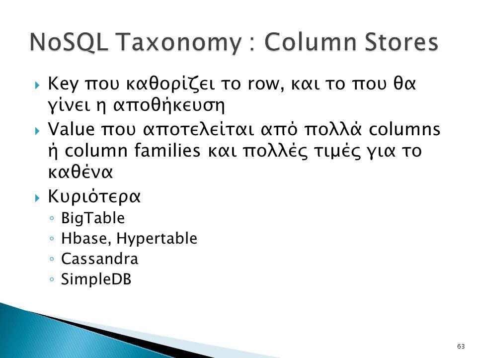  Key που καθορίζει το row, και το που θα γίνει η αποθήκευση  Value που αποτελείται από πολλά columns ή column families και πολλές τιμές για το καθένα  Κυριότερα ◦ BigTable ◦ Hbase, Hypertable ◦ Cassandra ◦ SimpleDB 63