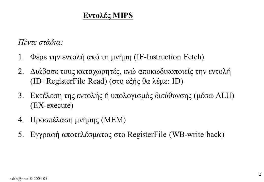 cslab@ntua © 2004-05 2 Εντολές MIPS Πέντε στάδια: 1.Φέρε την εντολή από τη μνήμη (IF-Instruction Fetch) 2.Διάβασε τους καταχωρητές, ενώ αποκωδικοποιείς την εντολή (ID+RegisterFile Read) (στο εξής θα λέμε: ID) 3.Εκτέλεση της εντολής ή υπολογισμός διεύθυνσης (μέσω ALU) (EX-execute) 4.Προσπέλαση μνήμης (MEM) 5.Εγγραφή αποτελέσματος στο RegisterFile (WB-write back)