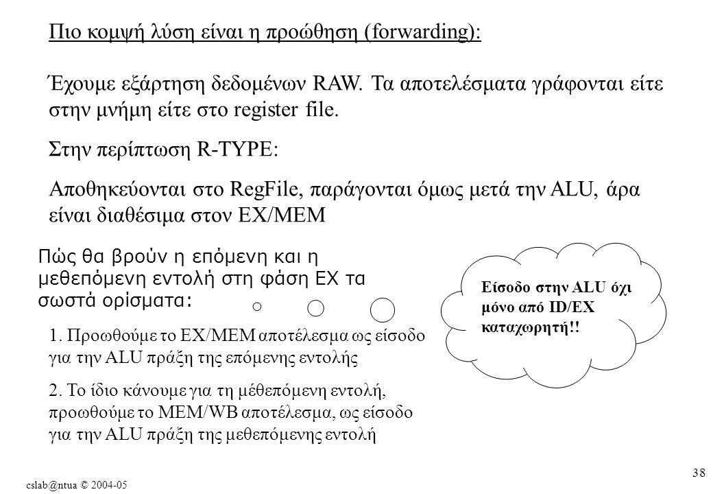 cslab@ntua © 2004-05 38 Πιο κομψή λύση είναι η προώθηση (forwarding): Έχουμε εξάρτηση δεδομένων RAW.