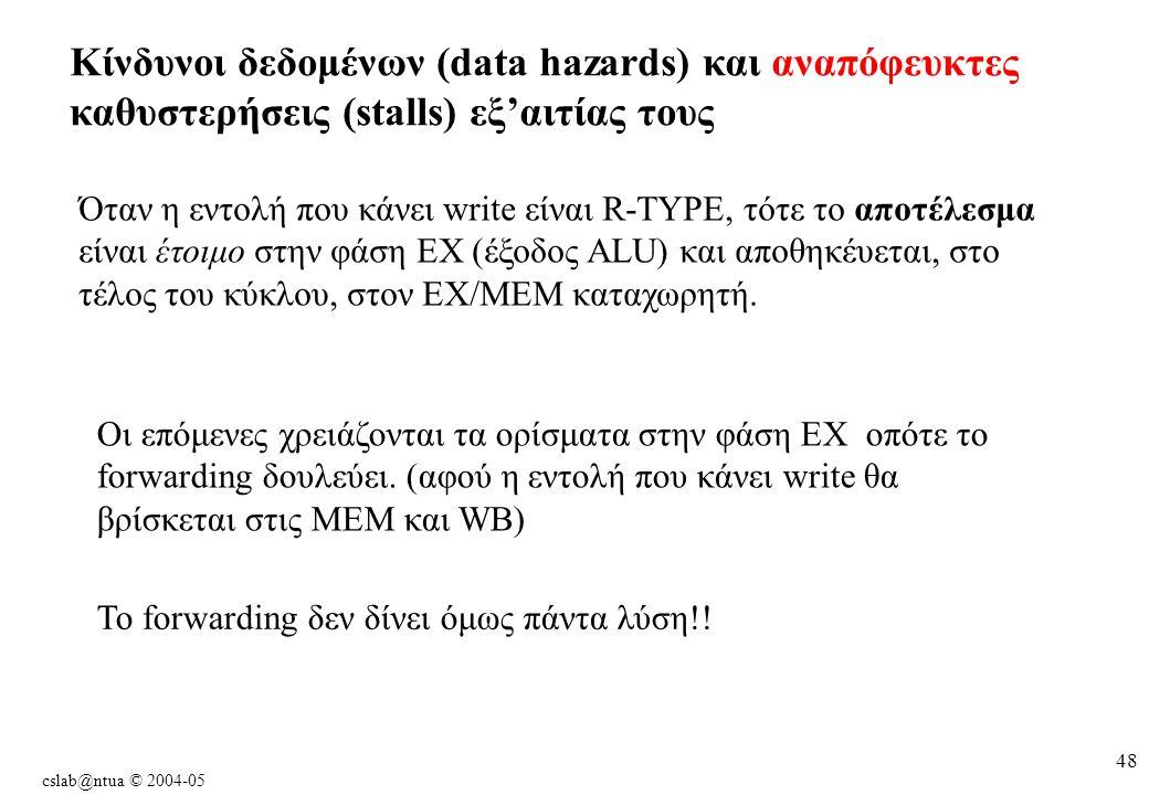 cslab@ntua © 2004-05 48 Kίνδυνοι δεδομένων (data hazards) και αναπόφευκτες καθυστερήσεις (stalls) εξ'αιτίας τους Όταν η εντολή που κάνει write είναι R-TYPE, τότε το αποτέλεσμα είναι έτοιμο στην φάση EX (έξοδος ALU) και αποθηκέυεται, στο τέλος του κύκλου, στον EX/MEM καταχωρητή.
