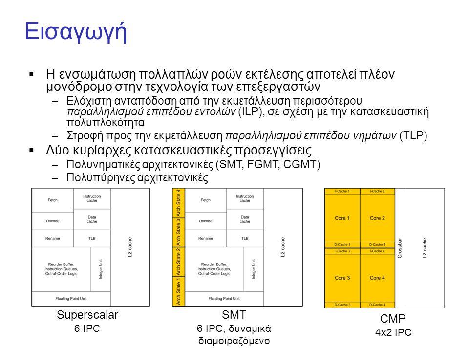 Εισαγωγή  Η ενσωμάτωση πολλαπλών ροών εκτέλεσης αποτελεί πλέον μονόδρομο στην τεχνολογία των επεξεργαστών –Ελάχιστη ανταπόδοση από την εκμετάλλευση περισσότερου παραλληλισμού επιπέδου εντολών (ILP), σε σχέση με την κατασκευαστική πολυπλοκότητα –Στροφή προς την εκμετάλλευση παραλληλισμού επιπέδου νημάτων (TLP)  Δύο κυρίαρχες κατασκευαστικές προσεγγίσεις –Πολυνηματικές αρχιτεκτονικές (SMT, FGMT, CGMT) –Πολυπύρηνες αρχιτεκτονικές Superscalar 6 IPC SMT 6 IPC, δυναμικά διαμοιραζόμενο CMP 4x2 IPC