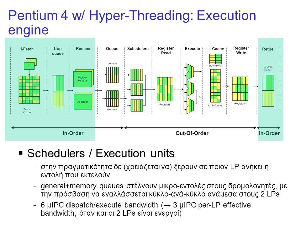 Pentium 4 w/ Hyper-Threading: Execution engine  Schedulers / Execution units – στην πραγματικότητα δε (χρειάζεται να) ξέρουν σε ποιον LP ανήκει η εντολή που εκτελούν – general+memory queues στέλνουν μικρο-εντολές στους δρομολογητές, με την πρόσβαση να εναλλάσσεται κύκλο-ανά-κύκλο ανάμεσα στους 2 LPs – 6 μIPC dispatch/execute bandwidth (→ 3 μIPC per-LP effective bandwidth, όταν και οι 2 LPs είναι ενεργοί)