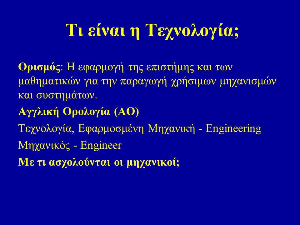 Τι είναι η Τεχνολογία; Ορισμός: Η εφαρμογή της επιστήμης και των μαθηματικών για την παραγωγή χρήσιμων μηχανισμών και συστημάτων.