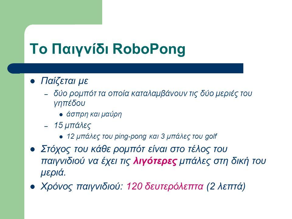 Το Παιγνίδι RoboPong Παίζεται με – δύο ρομπότ τα οποία καταλαμβάνουν τις δύο μεριές του γηπέδου άσπρη και μαύρη – 15 μπάλες 12 μπάλες του ping-pong και 3 μπάλες του golf Στόχος του κάθε ρομπότ είναι στο τέλος του παιγνιδιού να έχει τις λιγότερες μπάλες στη δική του μεριά.