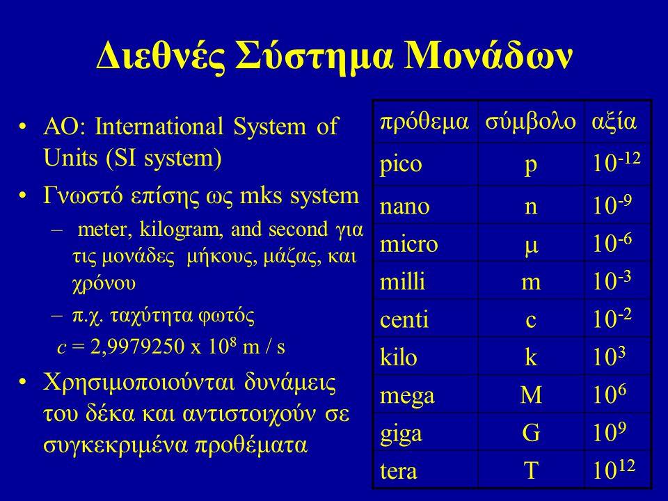 Διεθνές Σύστημα Μονάδων AO: International System of Units (SI system) Γνωστό επίσης ως mks system – meter, kilogram, and second για τις μονάδες μήκους