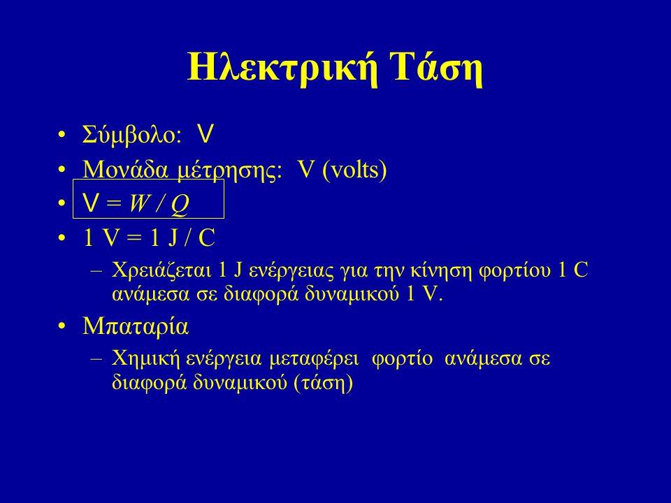 Ηλεκτρική Τάση Σύμβολο: V Μονάδα μέτρησης: V (volts) V = W / Q 1 V = 1 J / C –Χρειάζεται 1 J ενέργειας για την κίνηση φορτίου 1 C ανάμεσα σε διαφορά δ