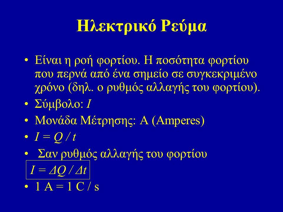 Ηλεκτρικό Ρεύμα Είναι η ροή φορτίου. Η ποσότητα φορτίου που περνά από ένα σημείο σε συγκεκριμένο χρόνο (δηλ. ο ρυθμός αλλαγής του φορτίου). Σύμβολο: Ι