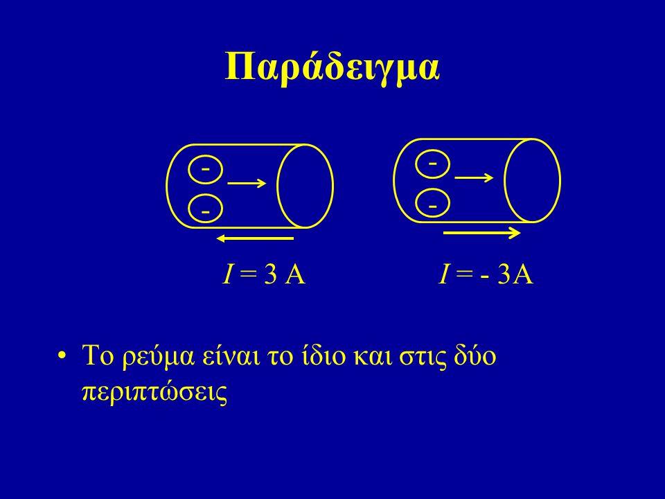 Παράδειγμα Το ρεύμα είναι το ίδιο και στις δύο περιπτώσεις ---- Ι = 3 Α ---- Ι = - 3Α