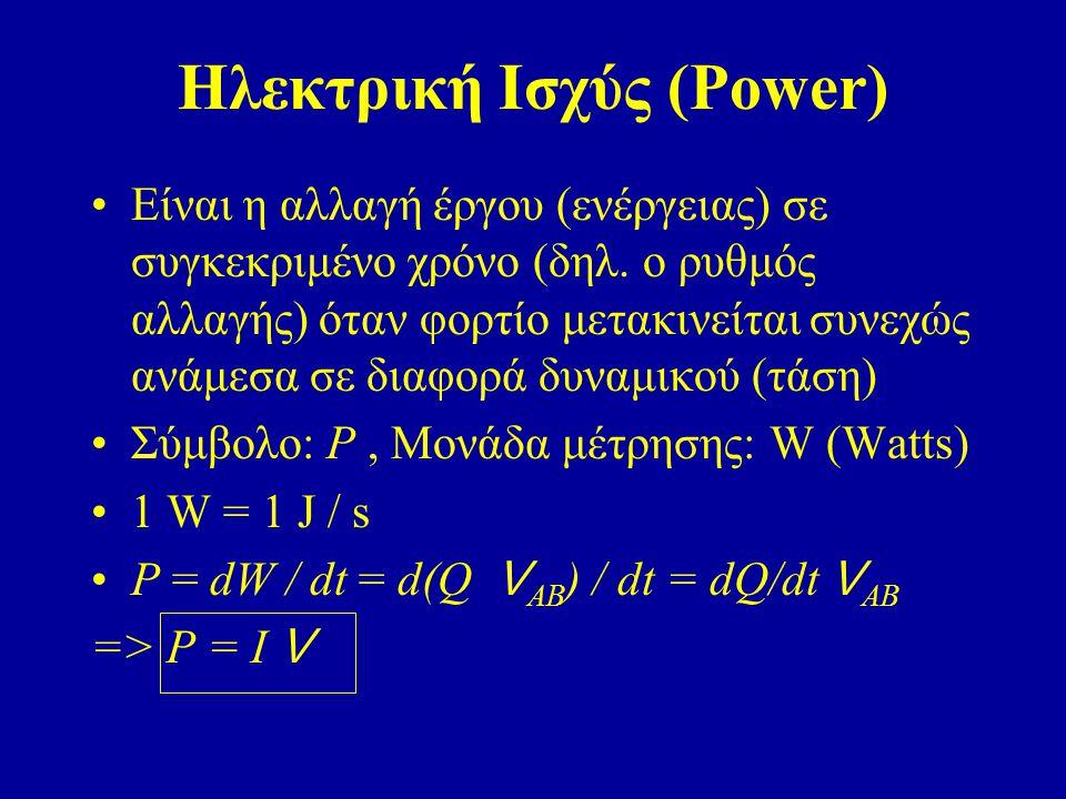 Είναι η αλλαγή έργου (ενέργειας) σε συγκεκριμένο χρόνο (δηλ. ο ρυθμός αλλαγής) όταν φορτίο μετακινείται συνεχώς ανάμεσα σε διαφορά δυναμικού (τάση) Σύ