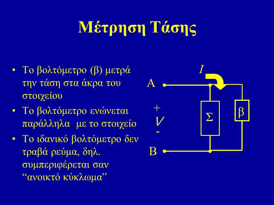 Μέτρηση Τάσης Το βολτόμετρο (β) μετρά την τάση στα άκρα του στοιχείου Το βολτόμετρο ενώνεται παράλληλα με το στοιχείο Το ιδανικό βολτόμετρο δεν τραβά