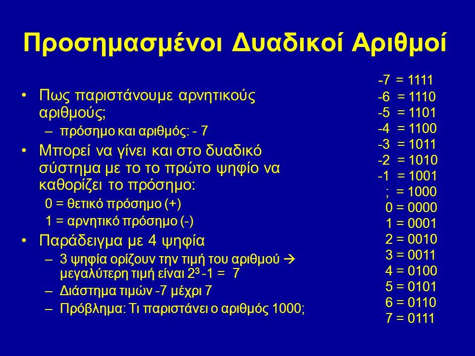 Προσημασμένοι Δυαδικοί Αριθμοί Πως παριστάνουμε αρνητικούς αριθμούς; –πρόσημο και αριθμός: - 7 Μπορεί να γίνει και στο δυαδικό σύστημα με το το πρώτο