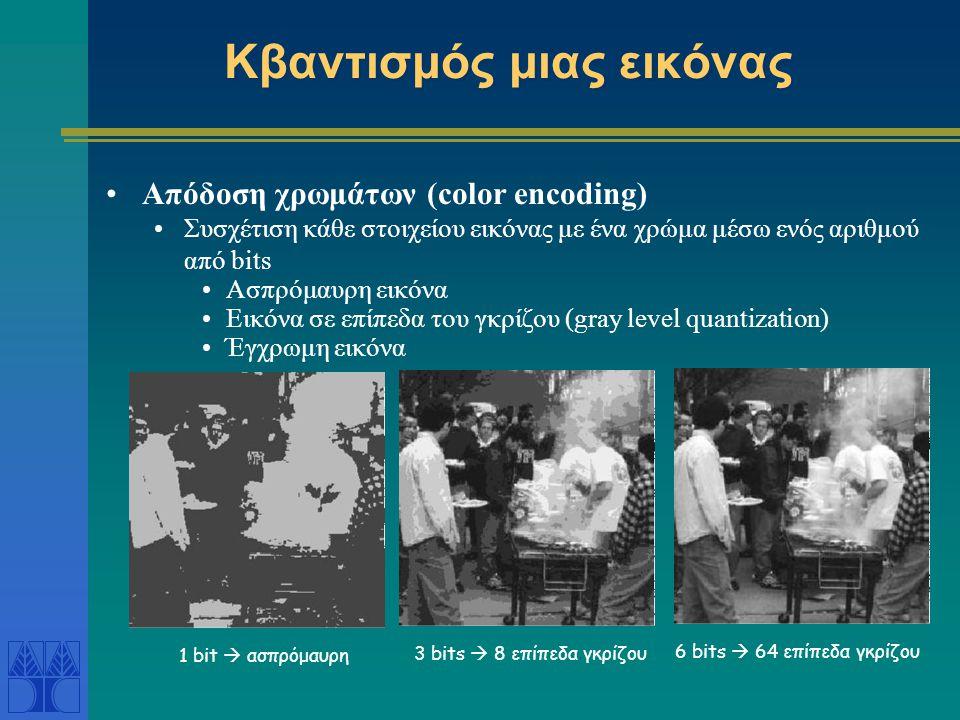 Κβαντισμός μιας εικόνας Απόδοση χρωμάτων (color encoding) Συσχέτιση κάθε στοιχείου εικόνας με ένα χρώμα μέσω ενός αριθμού από bits Ασπρόμαυρη εικόνα Εικόνα σε επίπεδα του γκρίζου (gray level quantization) Έγχρωμη εικόνα 3 bits  8 επίπεδα γκρίζου 1 bit  ασπρόμαυρη6 bits  64 επίπεδα γκρίζου