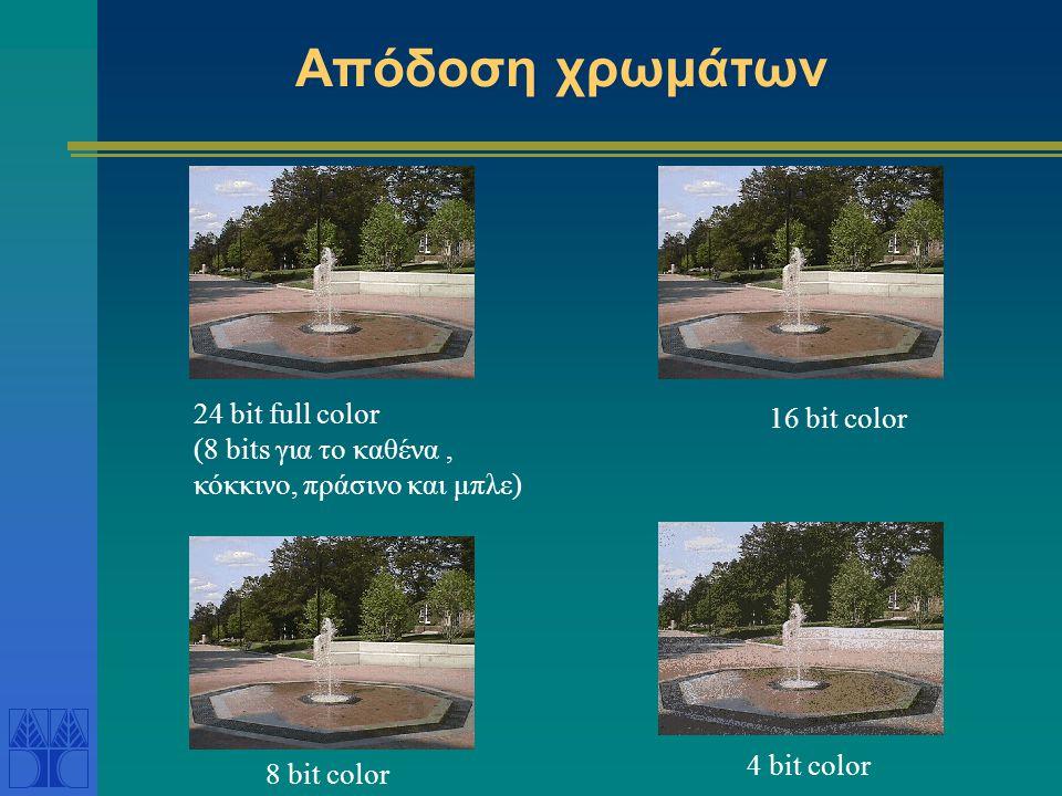 Απόδοση χρωμάτων 24 bit full color (8 bits για το καθένα, κόκκινο, πράσινο και μπλε) 16 bit color 8 bit color 4 bit color