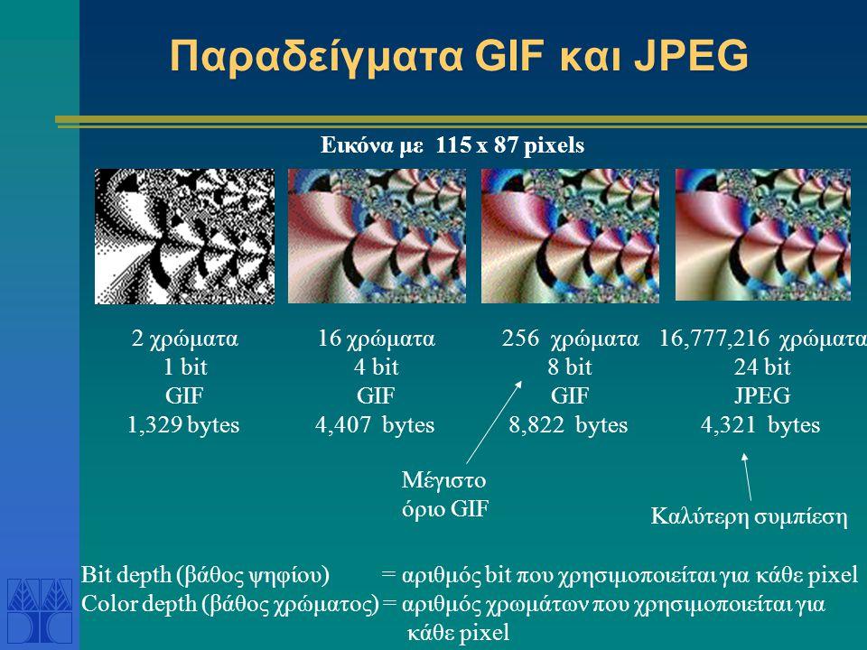 Παραδείγματα GIF και JPEG 2 χρώματα 1 bit GIF 1,329 bytes 16 χρώματα 4 bit GIF 4,407 bytes 256 χρώματα 8 bit GIF 8,822 bytes 16,777,216 χρώματα 24 bit