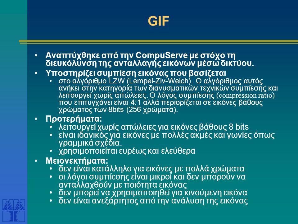GIF Αναπτύχθηκε από την CompuServe με στόχο τη διευκόλυνση της ανταλλαγής εικόνων μέσω δικτύου.