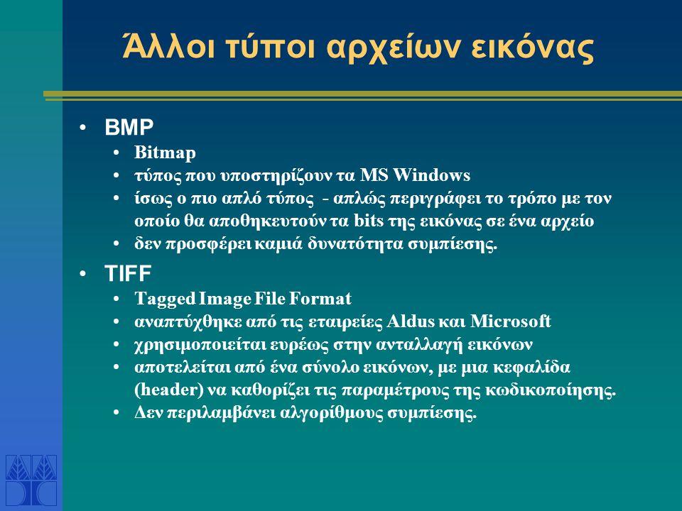 Άλλοι τύποι αρχείων εικόνας BMP Bitmap τύπος που υποστηρίζουν τα MS Windows ίσως ο πιο απλό τύπος - απλώς περιγράφει το τρόπο με τον οποίο θα αποθηκευτούν τα bits της εικόνας σε ένα αρχείο δεν προσφέρει καμιά δυνατότητα συμπίεσης.