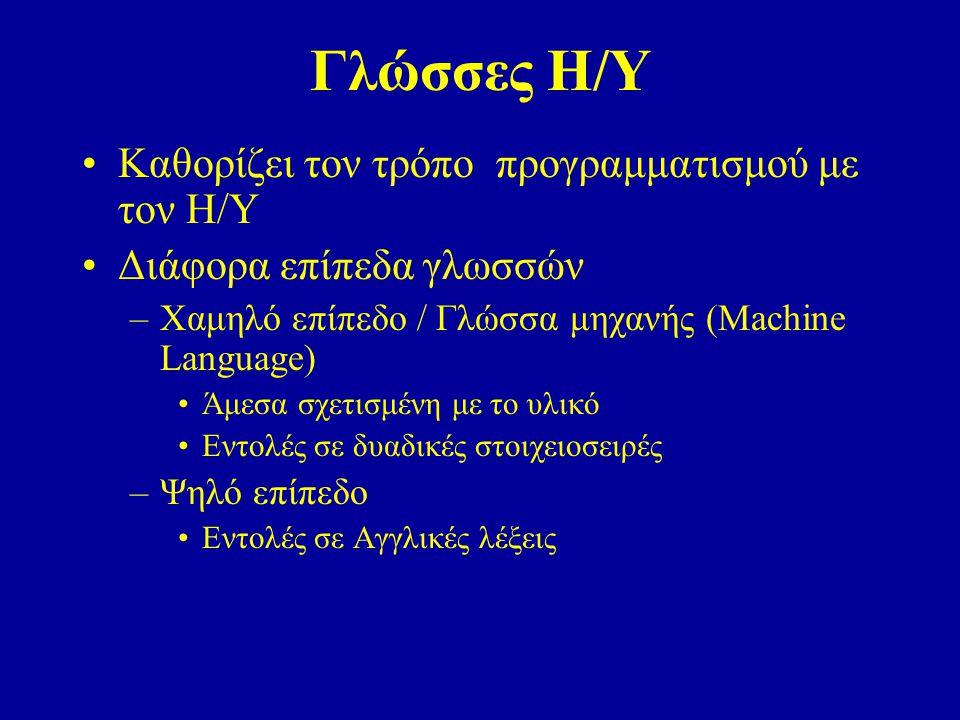 Γλώσσες Η/Υ Καθορίζει τον τρόπο προγραμματισμού με τον Η/Υ Διάφορα επίπεδα γλωσσών –Χαμηλό επίπεδο / Γλώσσα μηχανής (Machine Language) Άμεσα σχετισμένη με το υλικό Εντολές σε δυαδικές στοιχειοσειρές –Ψηλό επίπεδο Εντολές σε Αγγλικές λέξεις