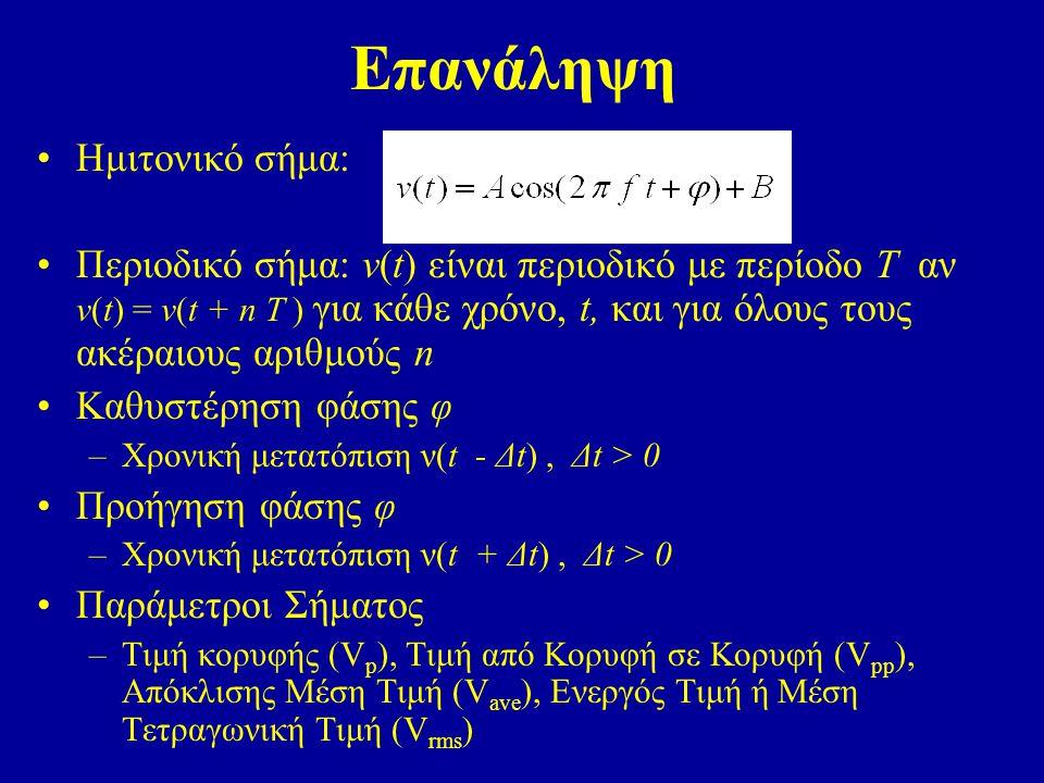 Επανάληψη Ημιτονικό σήμα: Περιοδικό σήμα: v(t) είναι περιοδικό με περίοδο Τ αν v(t) = v(t + n T ) για κάθε χρόνο, t, και για όλους τους ακέραιους αριθμούς n Καθυστέρηση φάσης φ –Χρονική μετατόπιση ν(t - Δt), Δt > 0 Προήγηση φάσης φ –Χρονική μετατόπιση ν(t + Δt), Δt > 0 Παράμετροι Σήματος –Τιμή κορυφής (V p ), Τιμή από Κορυφή σε Κορυφή (V pp ), Απόκλισης Μέση Τιμή (V ave ), Ενεργός Τιμή ή Μέση Τετραγωνική Τιμή (V rms )