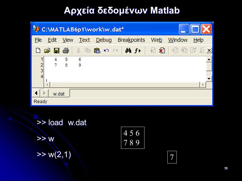 18 Αρχεία δεδομένων Matlab >> load w.dat >> w >> w(2,1) 4 5 6 7 8 9 7