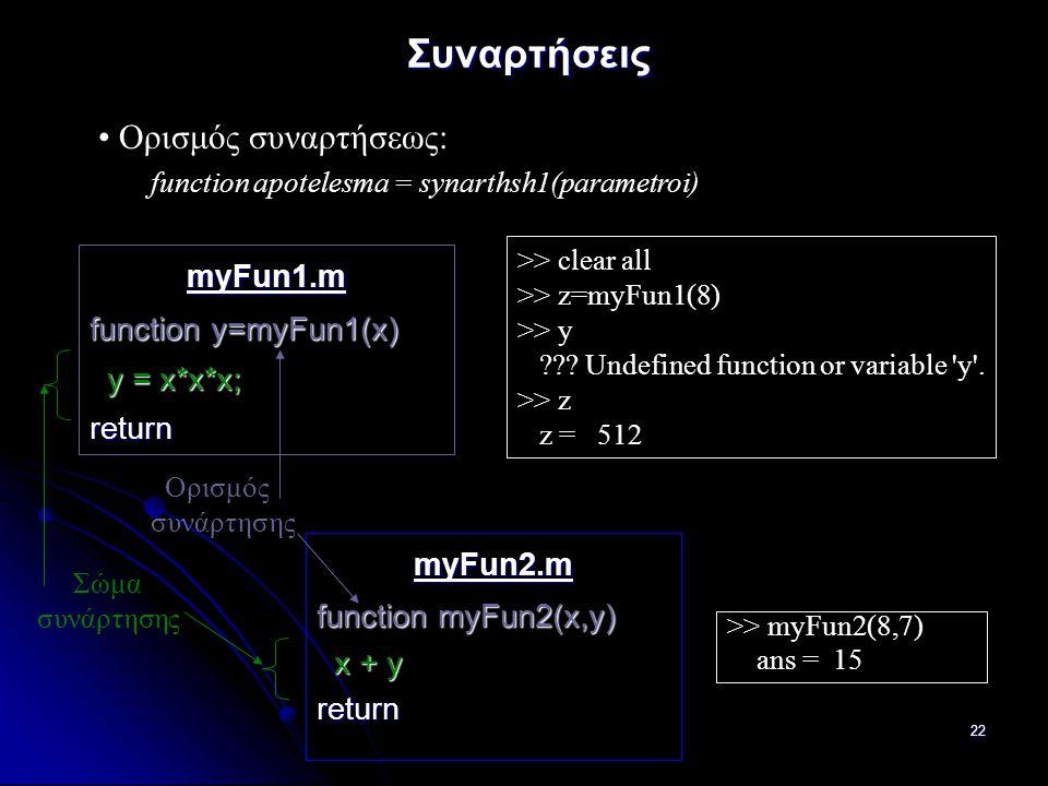 22 Συναρτήσεις myFun1.m function y=myFun1(x) y = x*x*x; y = x*x*x;return Ορισμός συναρτήσεως: function apotelesma = synarthsh1(parametroi) myFun2.m function myFun2(x,y) x + y x + yreturn >> clear all >> z=myFun1(8) >> y ??.