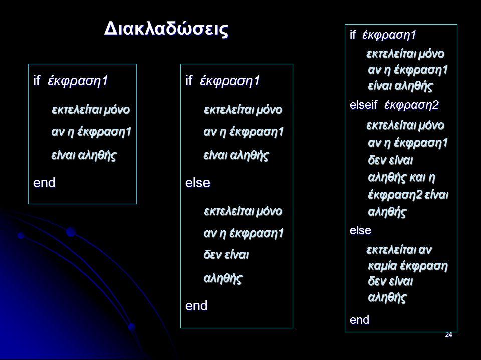24 Διακλαδώσεις if έκφραση1 εκτελείται μόνο αν η έκφραση1 είναι αληθής εκτελείται μόνο αν η έκφραση1 είναι αληθήςend if έκφραση1 εκτελείται μόνο αν η έκφραση1 είναι αληθής εκτελείται μόνο αν η έκφραση1 είναι αληθής elseif έκφραση2 εκτελείται μόνο αν η έκφραση1 δεν είναι αληθής και η έκφραση2 είναι αληθής εκτελείται μόνο αν η έκφραση1 δεν είναι αληθής και η έκφραση2 είναι αληθήςelse εκτελείται αν καμία έκφραση δεν είναι αληθής εκτελείται αν καμία έκφραση δεν είναι αληθήςend if έκφραση1 εκτελείται μόνο αν η έκφραση1 είναι αληθής εκτελείται μόνο αν η έκφραση1 είναι αληθήςelse εκτελείται μόνο αν η έκφραση1 δεν είναι αληθής εκτελείται μόνο αν η έκφραση1 δεν είναι αληθήςend