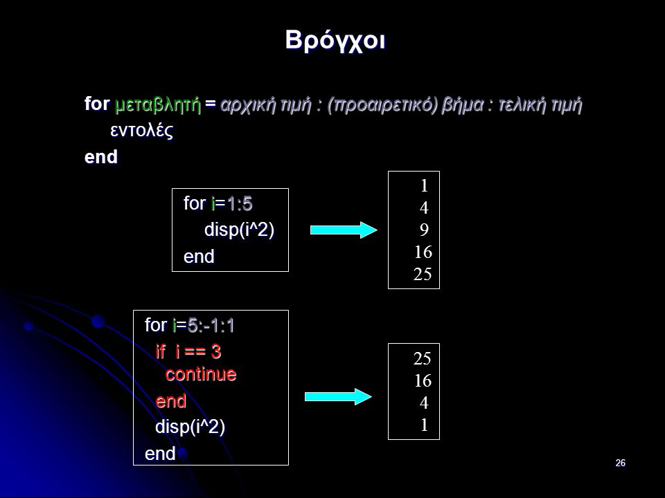 26 Βρόγχοι for μεταβλητή = αρχική τιμή : (προαιρετικό) βήμα : τελική τιμή εντολές εντολέςend for i=1:5 for i=1:5 disp(i^2) disp(i^2) end end 1 4 9 16 25 for i=5:-1:1 for i=5:-1:1 if i == 3 continue if i == 3 continue end end disp(i^2) disp(i^2) end end 25 16 4 1
