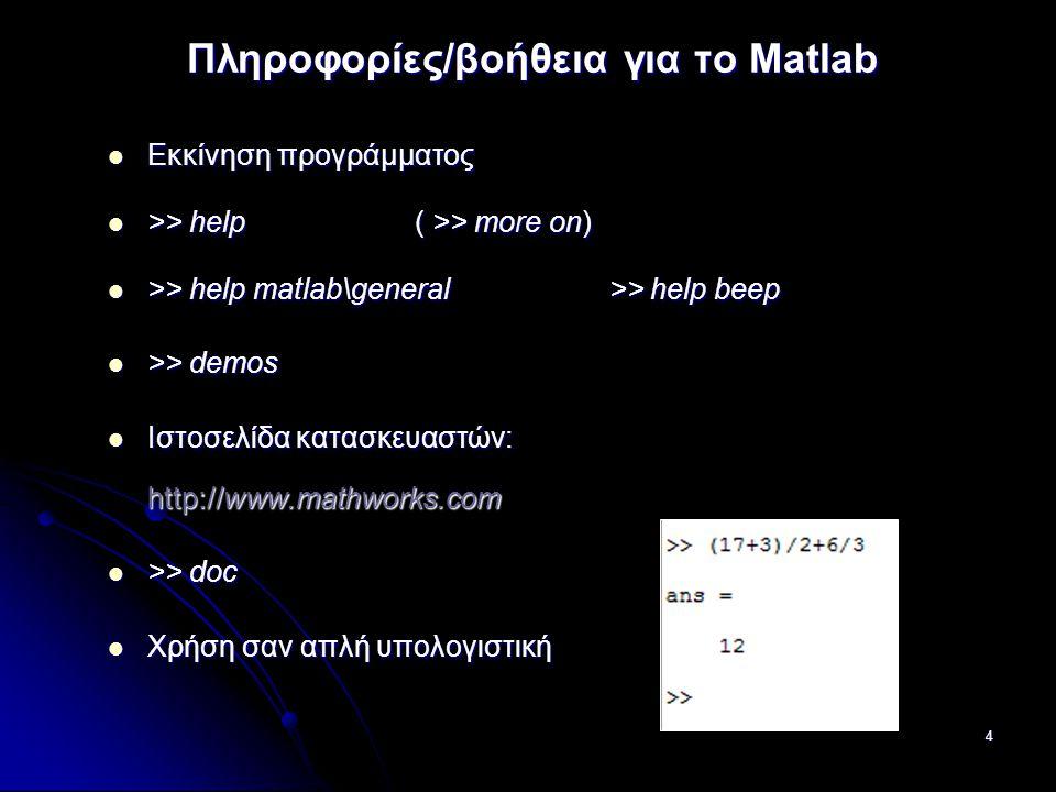 4 Πληροφορίες/βοήθεια για το Matlab Εκκίνηση προγράμματος Εκκίνηση προγράμματος >> help ( >> more on) >> help ( >> more on) >> help matlab\general >> help beep >> help matlab\general >> help beep >> demos >> demos Ιστοσελίδα κατασκευαστών: http://www.mathworks.com Ιστοσελίδα κατασκευαστών: http://www.mathworks.com >> doc >> doc Χρήση σαν απλή υπολογιστική Χρήση σαν απλή υπολογιστική
