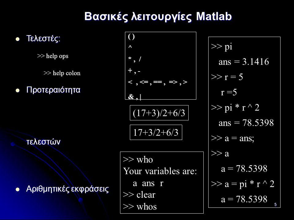 5 ( ) ^ *, / +, -, > &, | Βασικές λειτουργίες Matlab (17+3)/2+6/3 >> who Your variables are: a ans r >> clear >> whos >> pi ans = 3.1416 >> r = 5 r =5 >> pi * r ^ 2 ans = 78.5398 >> a = ans; >> a a = 78.5398 >> a = pi * r ^ 2 a = 78.5398 Τελεστές: Τελεστές: Προτεραιότητα τελεστών Προτεραιότητα τελεστών Αριθμητικές εκφράσεις Αριθμητικές εκφράσεις Μεταβλητές: Μεταβλητές: >> help ops >> help colon 17+3/2+6/3