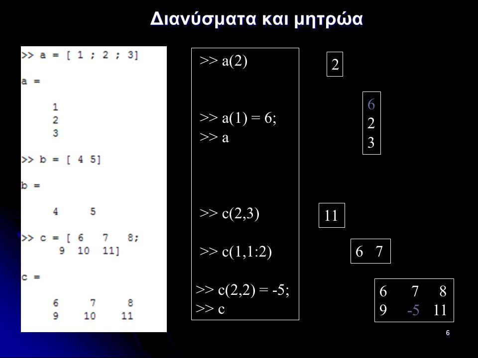 27 Βρόγχοι (συνεχ.) i = 0; i = 0; while i<10 while i<10 i = i + 2 i = i + 2 end end disp(i) disp(i) while λογική έκφραση εντολές εντολέςend (μέσα στις οποίες πρέπει κάτι σχετικό με την λογική έκφραση να αλλάζει, ή να υπάρχει κάποιο break, ώστε να αποφεύγεται βρόγχος επ'άπειρον) i = 2 i = 4 i = 6 i = 8 i = 10 10 continue: συνέχεια με επόμενη εκτέλεση βρόγχου for ή while continue: συνέχεια με επόμενη εκτέλεση βρόγχου for ή while break: τερματισμός εκτέλεσης βρόγχων for και while break: τερματισμός εκτέλεσης βρόγχων for και while i = 0; i = 0; while 1 while 1 if i>=10 if i>=10 break break end end i = i + 2 i = i + 2 end end disp(i) disp(i)