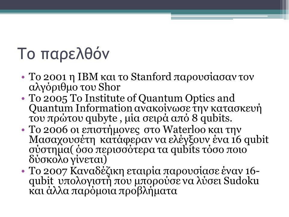 Το παρελθόν Το 2001 η IBM και το Stanford παρουσίασαν τον αλγόριθμο του Shor To 2005 To Institute of Quantum Optics and Quantum Information ανακοίνωσε την κατασκευή του πρώτου qubyte, μία σειρά από 8 qubits.