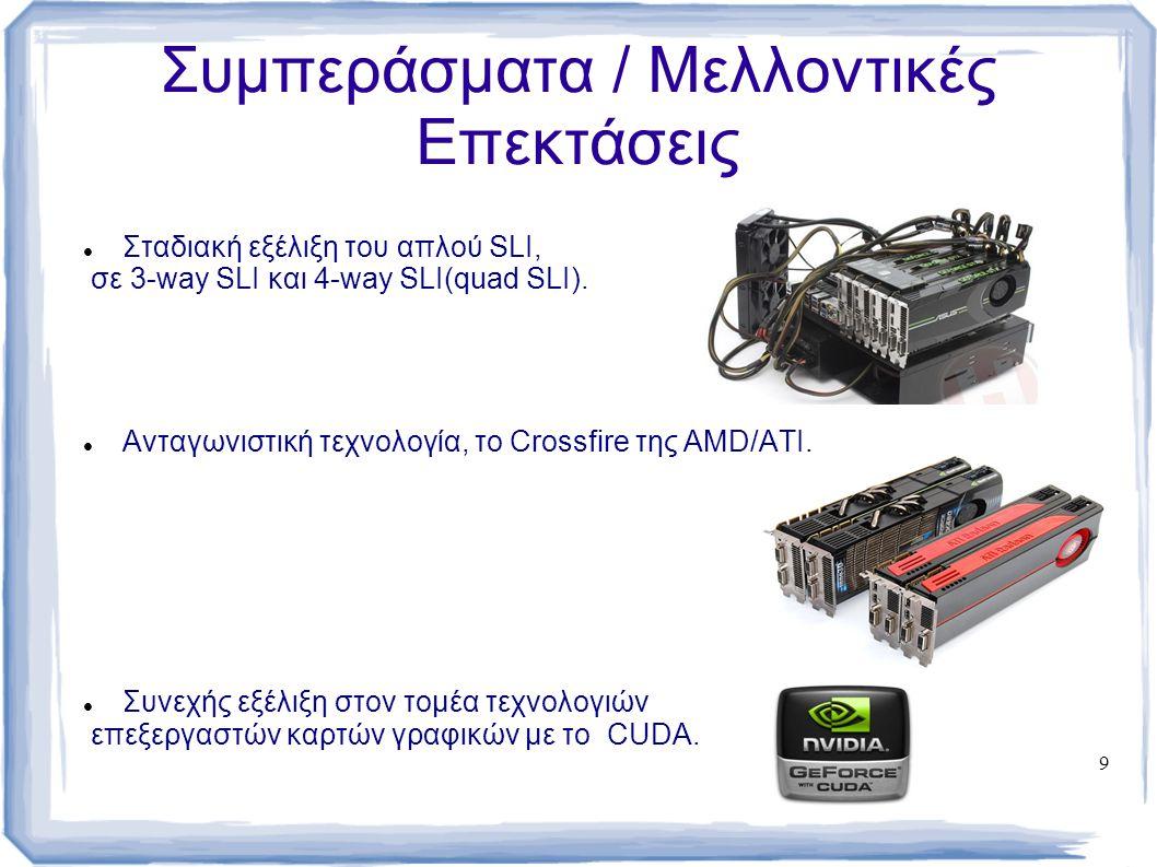 9 Συμπεράσματα / Μελλοντικές Επεκτάσεις Σταδιακή εξέλιξη του απλού SLI, σε 3-way SLI και 4-way SLI(quad SLI). Ανταγωνιστική τεχνολογία, το Crossfire τ