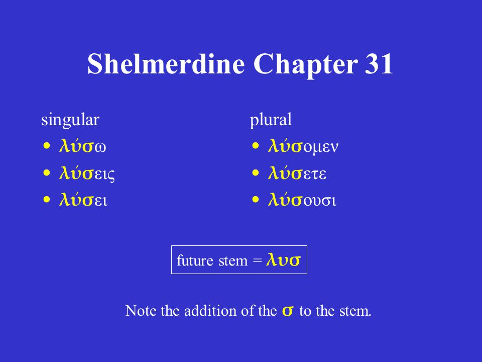 Shelmerdine Chapter 31 singular λύσ ω λύσ εις λύσ ει plural λύσ ομεν λύσ ετε λύσ ουσι future stem = λυσ Note the addition of the σ to the stem.