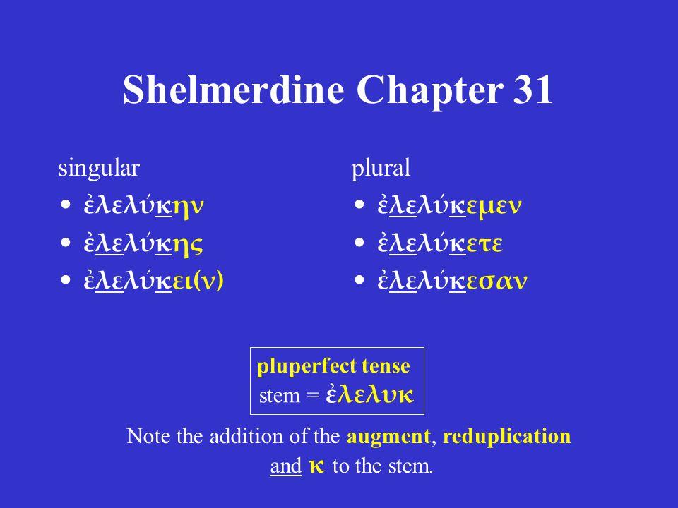 Shelmerdine Chapter 31 singular ἐλελύκην ἐλελύκης ἐλελύκει(ν) plural ἐλελύκεμεν ἐλελύκετε ἐλελύκεσαν pluperfect tense stem = ἐλελυκ Note the addition of the augment, reduplication and κ to the stem.