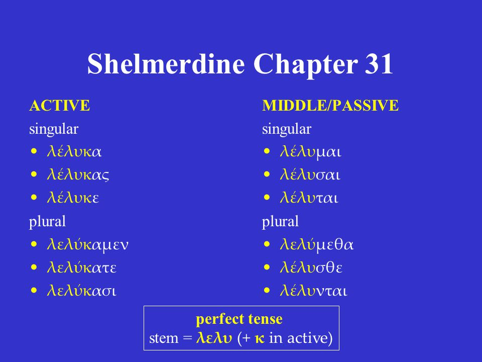 Shelmerdine Chapter 31 ACTIVE singular λέλυκα λέλυκας λέλυκε plural λελύκαμεν λελύκατε λελύκασι MIDDLE/PASSIVE singular λέλυμαι λέλυσαι λέλυται plural λελύμεθα λέλυσθε λέλυνται perfect tense stem = λελυ (+ κ in active)