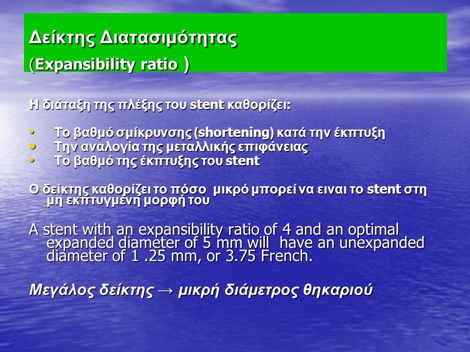 Δείκτης Διατασιμότητας (Expansibility ratio ) H διάταξη της πλέξης του stent καθορίζει : Το βαθμό σμίκρυνσης ( shortening ) κατά την έκπτυξη Το βαθμό
