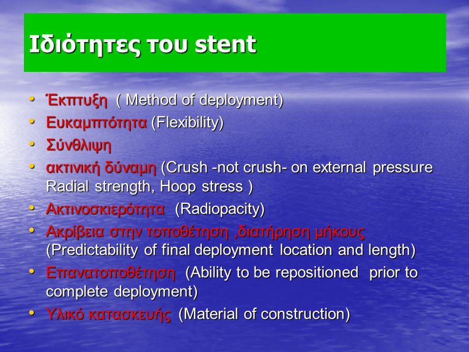 Ιδιότητες του stent Έκπτυξη ( Method of deployment) Έκπτυξη ( Method of deployment) Ευκαμπτότητα (Flexibility) Ευκαμπτότητα (Flexibility) Σύνθλιψη Σύν