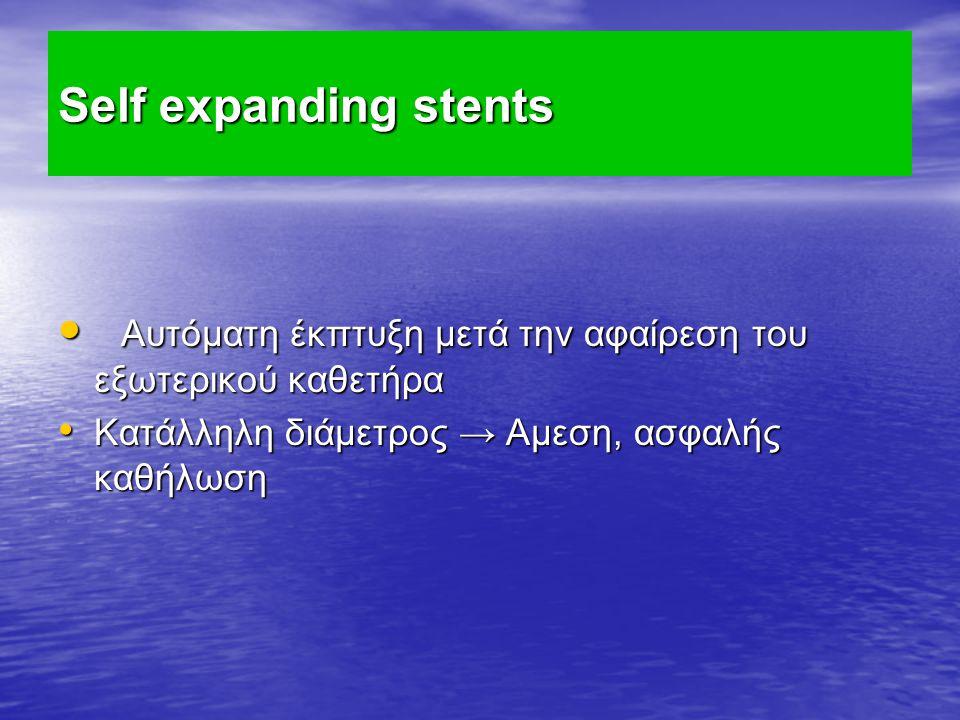 Self expanding stents Αυτόματη έκπτυξη μετά την αφαίρεση του εξωτερικού καθετήρα Αυτόματη έκπτυξη μετά την αφαίρεση του εξωτερικού καθετήρα Κατάλληλη