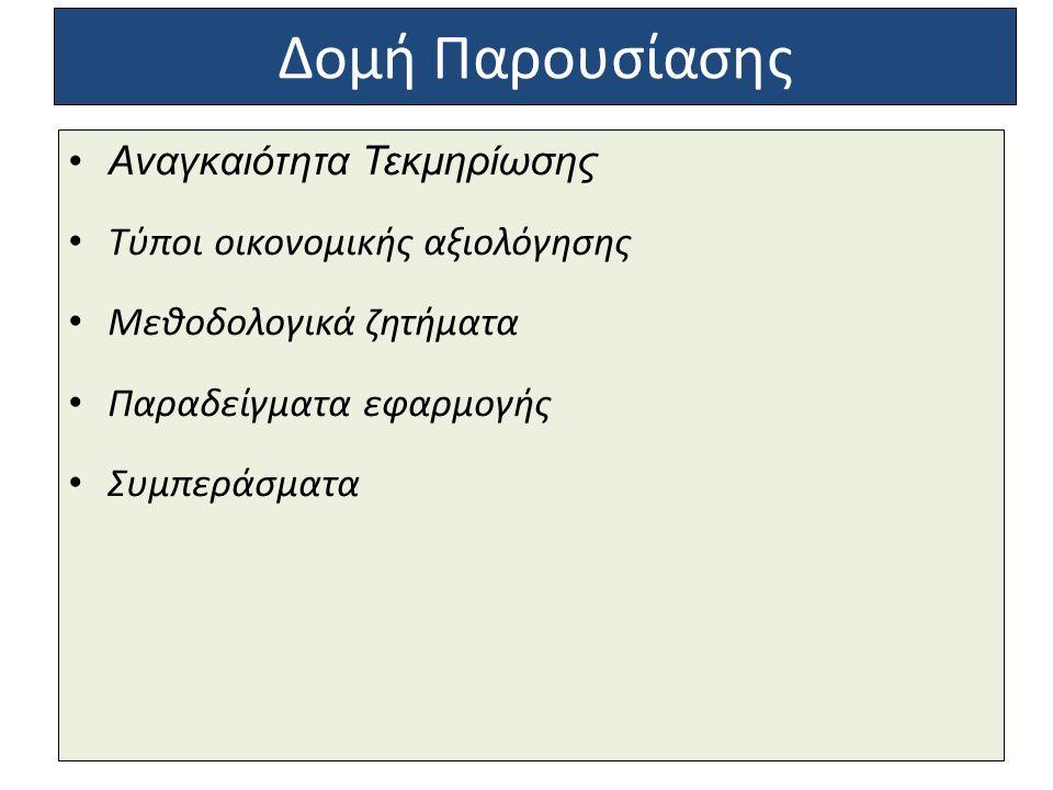 Δομή Παρουσίασης Αναγκαιότητα Τεκμηρίωσης Τύποι οικονομικής αξιολόγησης Μεθοδολογικά ζητήματα Παραδείγματα εφαρμογής Συμπεράσματα