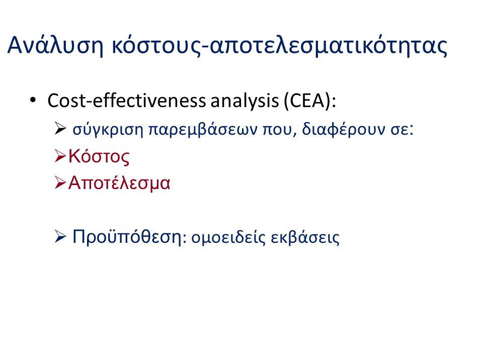 Ανάλυση κόστους-αποτελεσματικότητας Cost-effectiveness analysis (CEA):  σύγκριση παρεμβάσεων που, διαφέρουν σε :  Κόστος  Αποτέλεσμα  Προϋπόθεση :