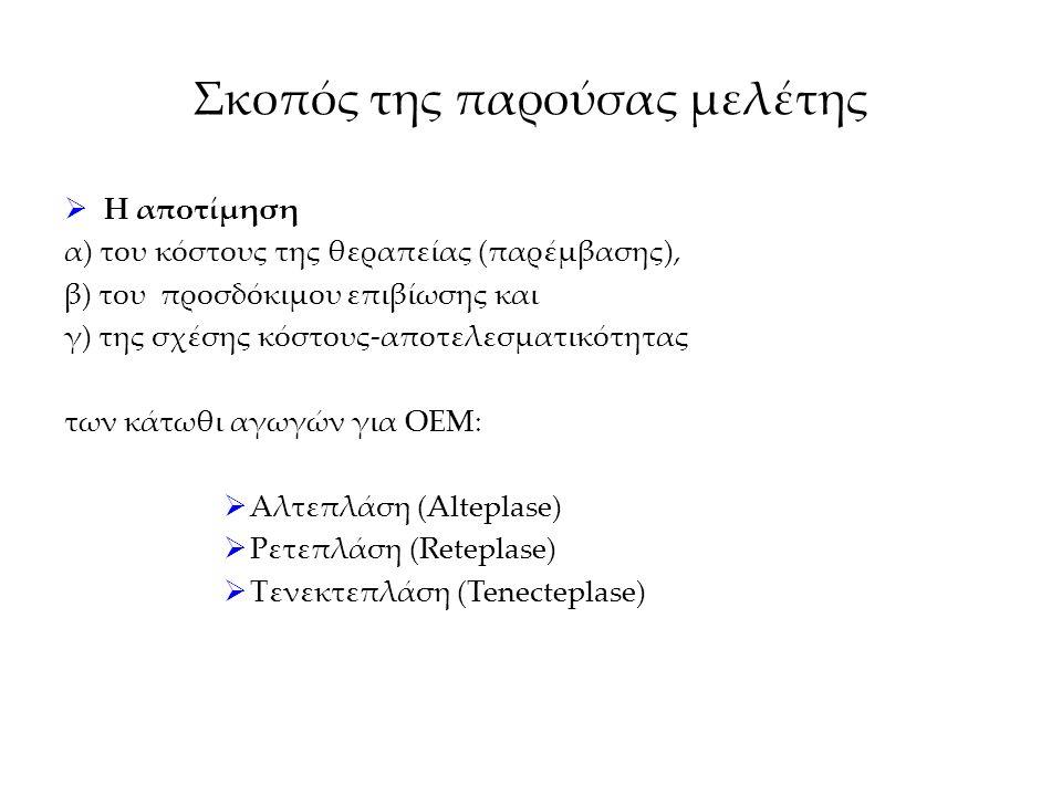 Σκοπός της παρούσας μελέτης  Η αποτίμηση α) του κόστους της θεραπείας (παρέμβασης), β) του προσδόκιμου επιβίωσης και γ) της σχέσης κόστους-αποτελεσμα