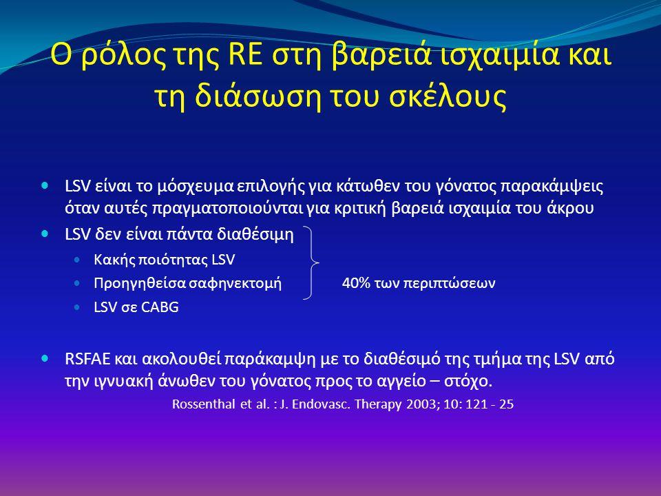 Ο ρόλος της RE στη βαρειά ισχαιμία και τη διάσωση του σκέλους LSV είναι το μόσχευμα επιλογής για κάτωθεν του γόνατος παρακάμψεις όταν αυτές πραγματοπο