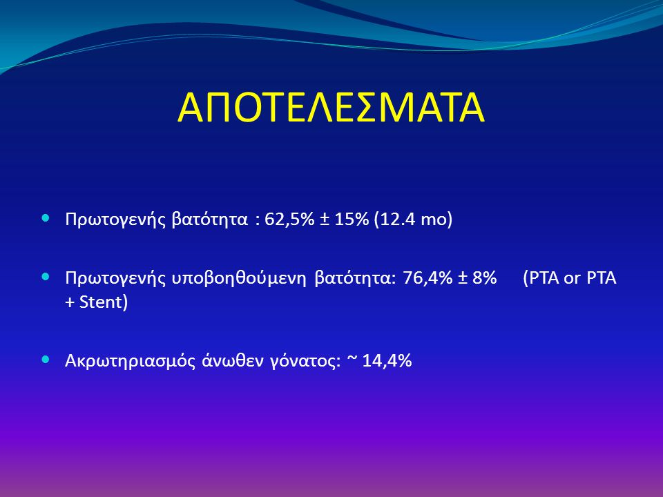 ΑΠΟΤΕΛΕΣΜΑΤΑ Πρωτογενής βατότητα : 62,5% ± 15% (12.4 mo) Πρωτογενής υποβοηθούμενη βατότητα: 76,4% ± 8% (PTA or PTA + Stent) Ακρωτηριασμός άνωθεν γόνατ