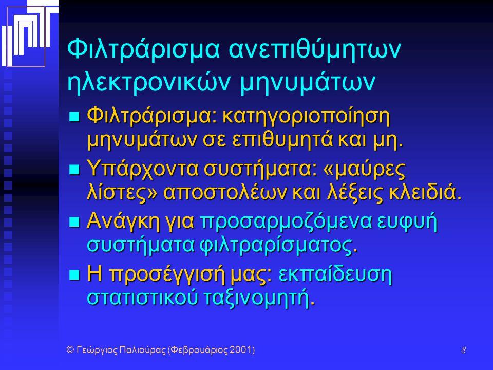 © Γεώργιος Παλιούρας (Φεβρουάριος 2001) 9 Φιλτράρισμα ανεπιθύμητων ηλεκτρονικών μηνυμάτων Γλωσσική προεπεξεργασία: αφαίρεση κοινών λέξεων και εύρεση λημμάτων.