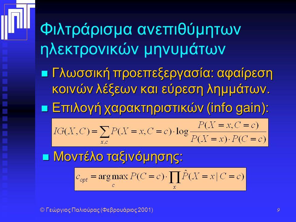 © Γεώργιος Παλιούρας (Φεβρουάριος 2001) 9 Φιλτράρισμα ανεπιθύμητων ηλεκτρονικών μηνυμάτων Γλωσσική προεπεξεργασία: αφαίρεση κοινών λέξεων και εύρεση λ