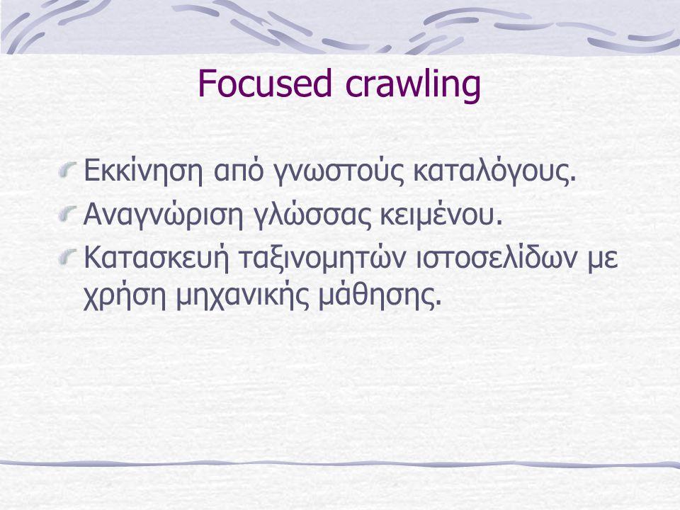Focused crawling Εκκίνηση από γνωστούς καταλόγους.