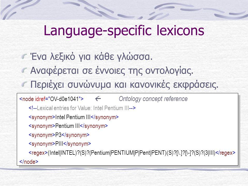Language-specific lexicons Ένα λεξικό για κάθε γλώσσα.