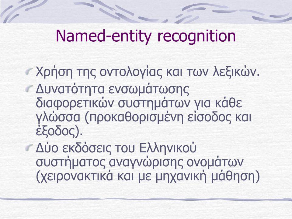 Named-entity recognition Χρήση της οντολογίας και των λεξικών.