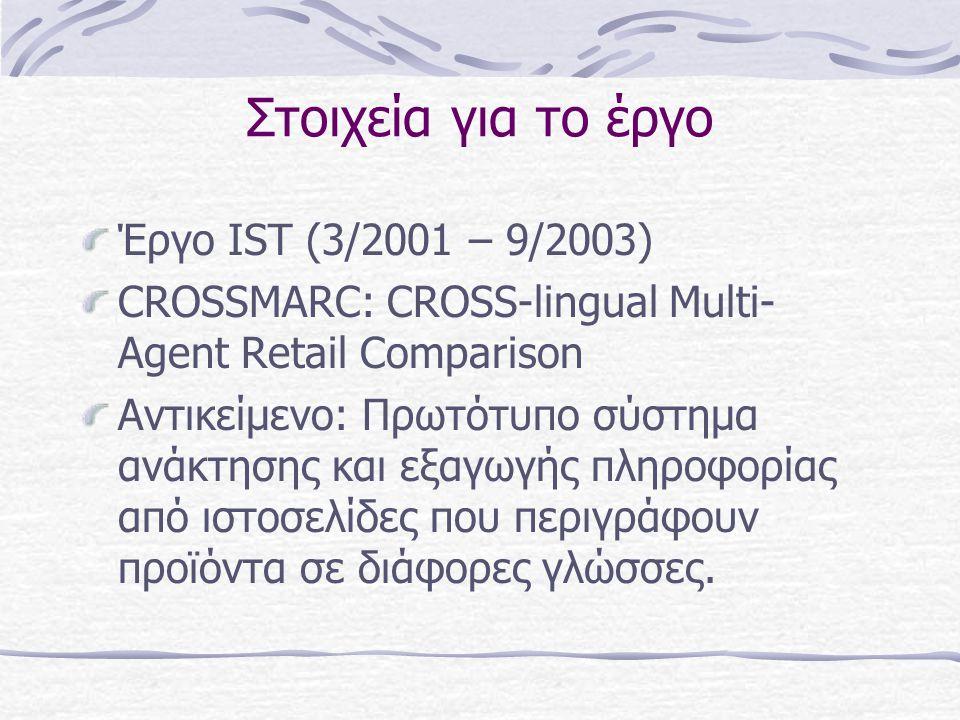 Στοιχεία για το έργο Έργο IST (3/2001 – 9/2003) CROSSMARC: CROSS-lingual Multi- Agent Retail Comparison Αντικείμενο: Πρωτότυπο σύστημα ανάκτησης και εξαγωγής πληροφορίας από ιστοσελίδες που περιγράφουν προϊόντα σε διάφορες γλώσσες.